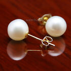 s046 new 14KT AAA 7-8mm 8-9mm 9-10mm white pink purple pearl earring