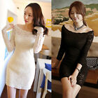 Fashion Ladies SEXY Lace Off-Shoulder Evening Formal Party Ball Short Mini Dress
