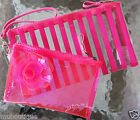 1 VICTORIA'S SECRET PINK JELLY LACE SEQUIN STRIPE BEAUTY ACCESSORIES MAKEUP BAG