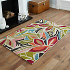 MODERN MEDIUM LARGE BLACK WHITE ORANGE RED GREEN FLORAL MULTI-COLOUR BEST RUGS