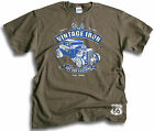 Vintage Iron Custom Classic V8 Hot Rod Coupe Route 66 Mens Olive T Shirt Sm  2XL