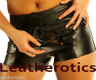 Genuine leather shorts tight open crotch BTS