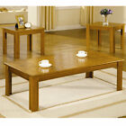 3-Piece Parquet Wood Occasional Table Set