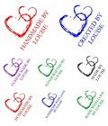 personalised handmade stamp, hearts & your name, card making crafts etc