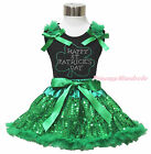 Rhinestone Happy St Patrick's Day Black Top Shirt Bling Green Sequins Skirt 1-8Y