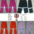 CutiesByZootys Kids Hi Vis Work Pants 100% Cotton Range of Colours & Sizes