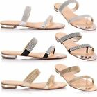 Ladies Women Flat Low Heel T Post Bar Thong Diamante Strappy Beach Sandals Shoes