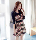 Fashion Womens Korean Plaids Stitching Lace Collect Spring Long Sleeve Dress