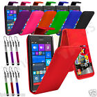 Leather Flip Credit Card Slot Case Cover For Nokia Lumia 530 And Stylus Pen