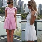 Sexy Lace Trim Short Sleeve Backless Cocktail Evening Party Chiffon Mini Dress