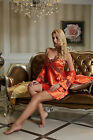 Orange&Iron Red Solid Silk Blend 2pcs Women Sleepwear Robe &Gown Sets M/L/XL/2XL
