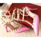 NEW Stunning Womens Straps Leather Point Toe Stud Heels Shoes Sz 3-10(LD16854)