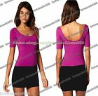 SEXY Womens BASIC contrast colour casual short sleeves CLUB PARTY MINI Dress XL