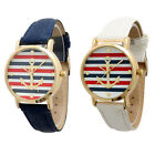 Fashion Women's Geneva Multi Color Striped Anchor Leather Watch Watches Cheap