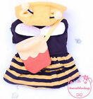 Yellow Bumble bee Hoodie dress small Dog Clothes Costume Pet Cat Party Clothes
