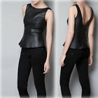 Stylish Lady Boutique Back Deep V Crewneck Vest Faux Leather Dress Tops#UKFO02