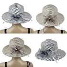 TEXTURED NETTING RIBBON BOW WOMENS SUMMER HAT #LHT186