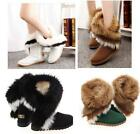 New Fashion Womens Leather Warm Winter Fur Furry Snow Boots Flat Heels shoes