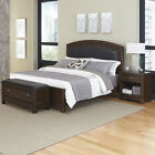 Crescent Hill Leather Upholstered Bed and Bench with Night Stand