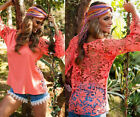 New Women Sheer Sleeve Embroidery Lace Crochet Tee Chiffon Shirt Top Blouse