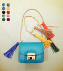 ACCESSORIES BB SMALL PLAYFUL TASSEL ANTICQUE GOLD CHARM KEY FOB GENUINE LEATHER
