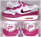 CUSTOMISED WHITE AND HOT PINK CRYSTAL BLING NIKE AIR MAX WOMENS LADIES TRAINERS