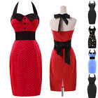 2015 New Style Halter 50s Vintage Polka Dot Swing Pinup Evening Dress