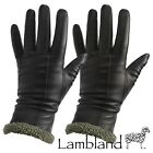 Ladies Long Leather Gloves with Wool Cuff and Wool Inner / Black, Brown