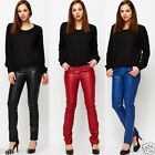 170 BIKE LEATHER LOOK SKINNY PANTS MID RISE BLACK BLUE RED TROUSERS SIZE 8 - 14