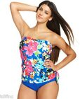 *NEW Swim Solutions Swimsuit Blue Multi Spring Faux Tankini 10 12 14 16 Straples