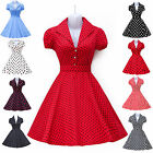 HOT RED Vintage Style Swing 1950s Collared Dresses Pinup Party Dress