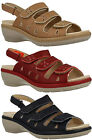 PENNY LADIES DB EASY B SAND RED NAVY LEATHER VELCRO EE-4E FIT OPEN TOE SANDALS
