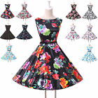 Vintage Style 1950's Floral Rockabilly Housewife Tea Dresses Wedding Gowns XS-XL