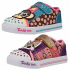 GIRLS TWINKLE TOES BY SKECHERS VELCRO TRAINERS IN MULTI & PURPLE CRITTER BUDS