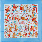 NEW Authentic Hermes Silk Scarf DIN TINI Blue