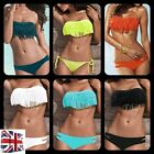 *UK* Sexy Fringe Padded Bandeau Bandage Bikini Set Swimwear Beach 2 Pcs Tassel