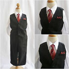 Boy Black pinstripe red tie christmas wedding party formal suit vest pant set