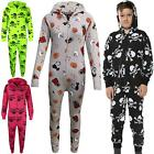 Kids Girls Boys Skull & Cross Bone Onesie All In One Halloween Costume 5-13 Yrs