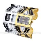 1pc Rectangle Dial Womens Crystal Quartz Bracelet Cuff Bangle Wrist Enamel Watch