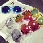 Women Stud Mirrored Sunglasses Shades Reflective Wayfarer Style Oversize Chic