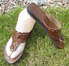 100% MOROCCAN LEATHER  FLIP FLOP SANDALS BROWN