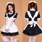 Japanese overall Cosplay dress Black white sexy Maid Outfit Costume Set apron