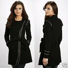 854 Stunning Trim Textured Black Jacket Light Dress-Coat Size Small