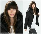 Zara Black Padded Quilted Parka Coat Puffer Anorak Jacket Blazer With Faux Fur M