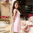 Women V-NECK Summer Dress Sexy Mini Dress Casual Cocktail Party Dress Pink
