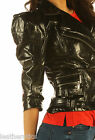 New Ladies leather jacket waist length top trendy punk detailed zipper jc57