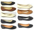 LADIES FLAT BALLET BALLERINA PUMPS WOMENS WORK OFFICE SCHOOL DOLLY SHOES SIZE