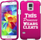 For Samsung S4 S5 S6 Mini Active Rubber Hard Case Princess Wears Cleats Softball