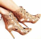 Zara Tan Cut Out Leather High Heel Sandals Ankle Boots Shoes All Sizes New Dress