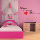 A DREAM IS A WISH quote wall decal bedroom girls fairytale sticker
